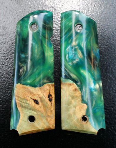Hybrid Buckeye burl and multi-color resin