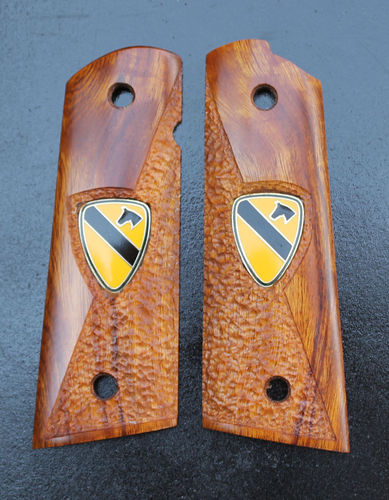 Desert Ironwood, inlaid 1st Cavalry pins  SOLD