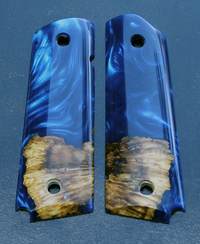 hybrid Maple burl and Cobalt Shimmer resin  SOLD