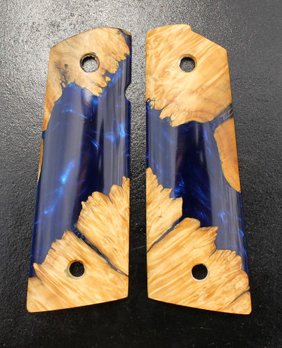 Hybrid Maple burl/Cobalt Shimmer resin, magwell  SOLD