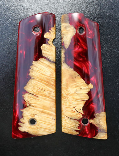 Hybrid Maple burl/Ruby Shimmer resin, magwell base  SOLD