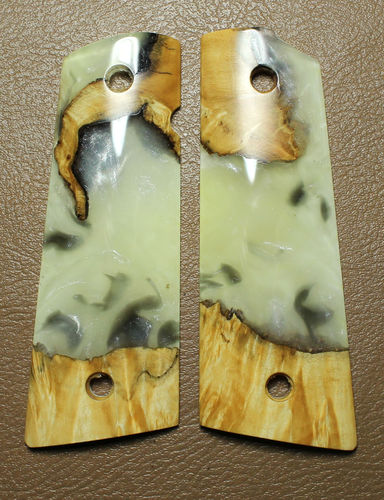 Hybrid Maple burl/White-Silver Shimmer resin