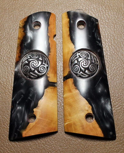 "SOLD  Hybrid Maple burl and Gray/Silver Shimmer resin, ""Triskele"" medallions"