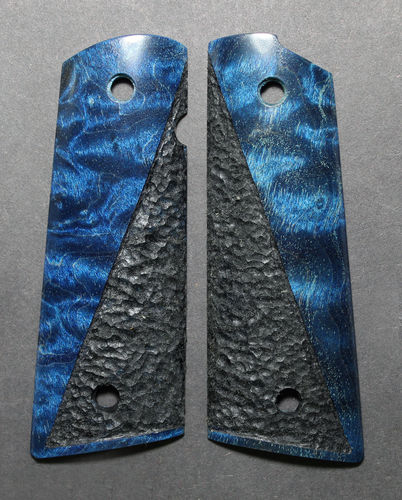 Stabilized blue Curly Maple, black half stipple  SOLD