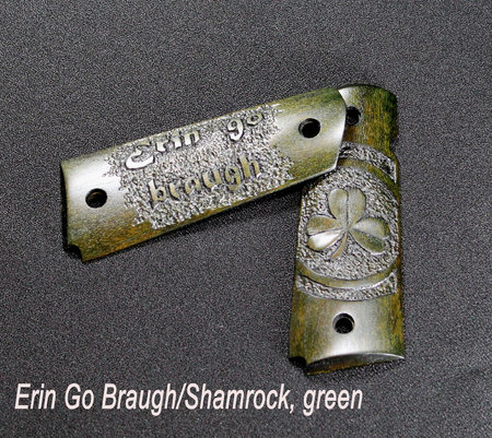 """Erin Go Braugh"" and Shamrock relief carvings, green dye\\n\\n1/19/2016 9:32 PM"