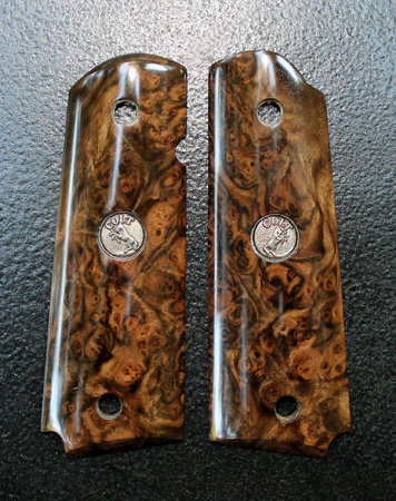 Presentation Grade Turkish Walnut burl, Jumbo cut, Colt Medallion inlays. Thanks, Mario A.!\\n\\n1/19/2016 12:10 PM